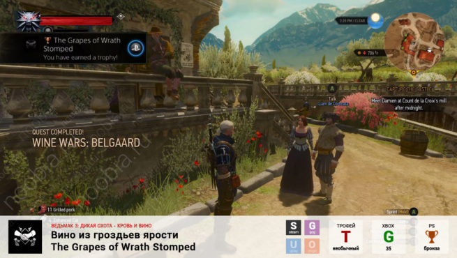 "Трофей ""Вино из гроздьев ярости / The Grapes of Wrath Stomped"" в The Witcher 3: Blood and Wine (Steam, GOG, PlayStation, Xbox)"