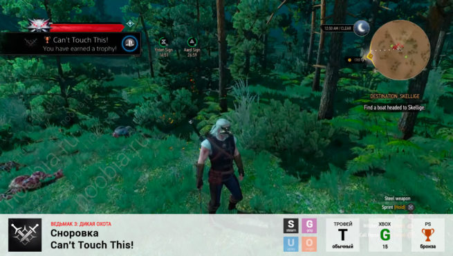 "Трофей ""Сноровка / Can't Touch This!"" в The Witcher 3: Wild Hunt (Steam, GOG, PlayStation, Xbox)"