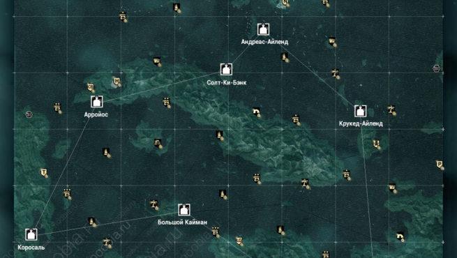 AC4: карта с местоположением таверн в Карибском бассейне