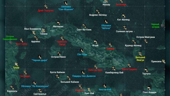 AC4: карта Карибского бассейна со всеми локациями