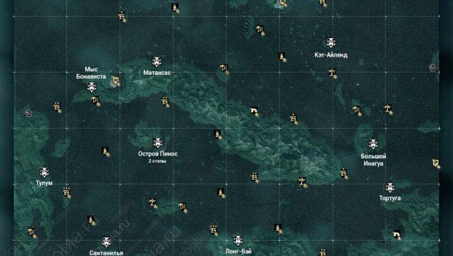 AC4: карта с расположением стел майя в Карибском бассейне