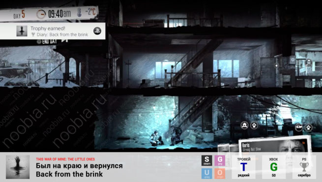 "Трофей ""Был на краю и вернулся / Back from the brink"" в This War of Mine: The Little Ones (Steam, GOG, Xbox, PlayStation)"