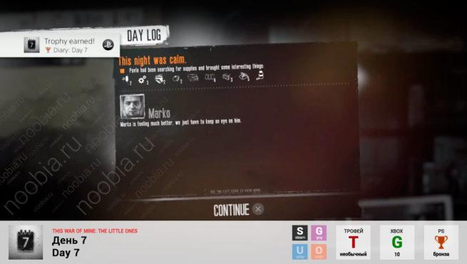 "Трофей ""День 7 / Day 7"" в This War of Mine: The Little Ones (Steam, GOG, Xbox, PlayStation)"