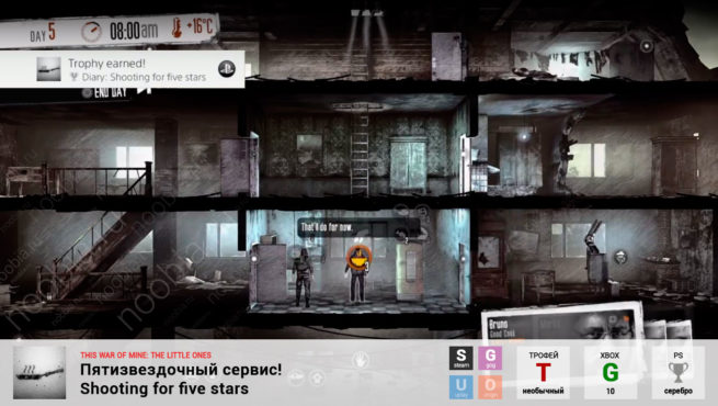 "Трофей ""Пятизвездочный сервис! / Shooting for five stars"" в This War of Mine: The Little Ones (Steam, GOG, Xbox, PlayStation)"