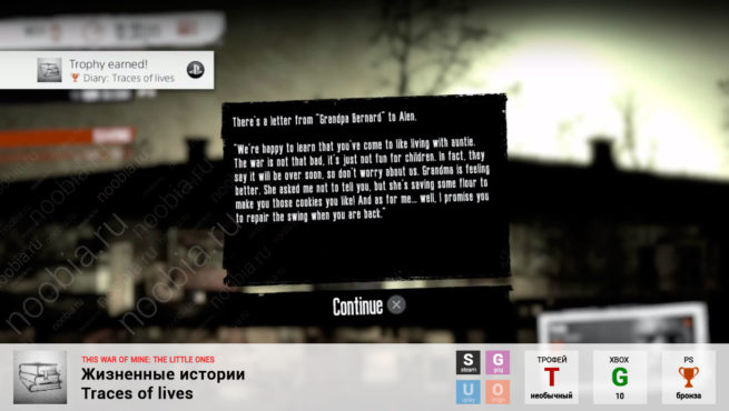 "Трофей ""Жизненные истории / Traces of lives"" в This War of Mine: The Little Ones (Steam, GOG, Xbox, PlayStation)"