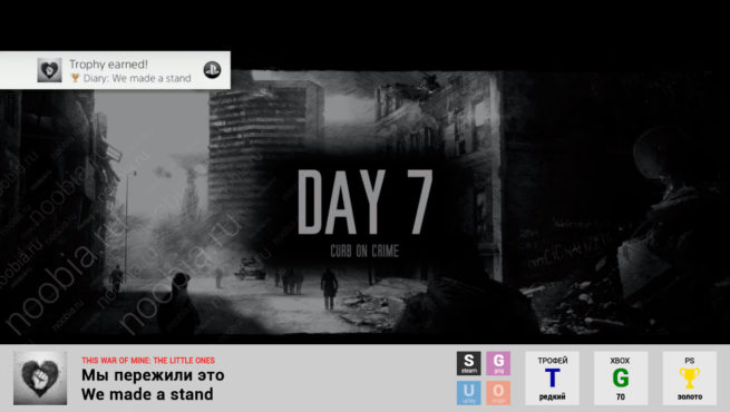 "Трофей ""Мы пережили это / We made a stand"" в This War of Mine: The Little Ones (Steam, GOG, Xbox, PlayStation)"