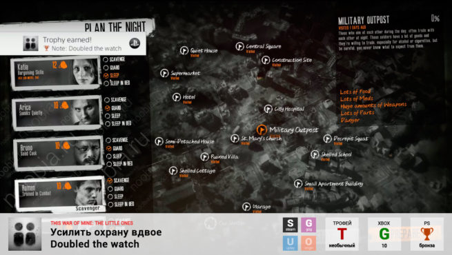 "Трофей ""Усилить охрану вдвое / Doubled the watch"" в This War of Mine: The Little Ones (Steam, GOG, Xbox, PlayStation)"
