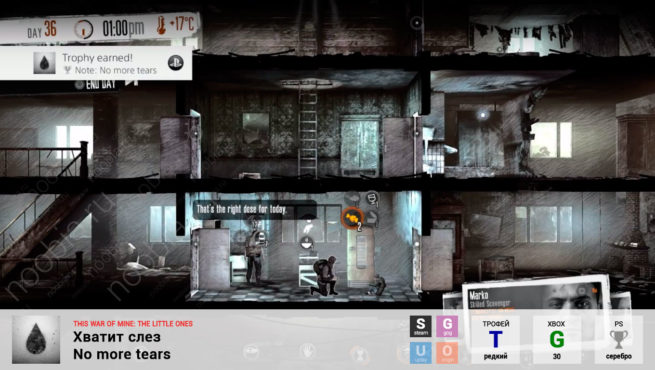 "Трофей ""Хватит слез / No more tears"" в This War of Mine: The Little Ones (Steam, GOG, Xbox, PlayStation)"
