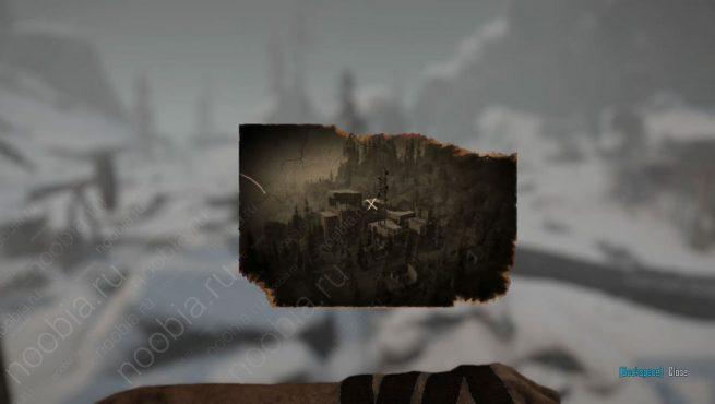 """Elex: выцветшее изображение с расположением записки """"Четыре дома, часть 9"""" в Западном Эдане"""