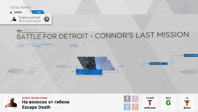 "Трофей ""На волосок от гибели / Escape Death"" в Detroit: Become Human (PlayStation)"