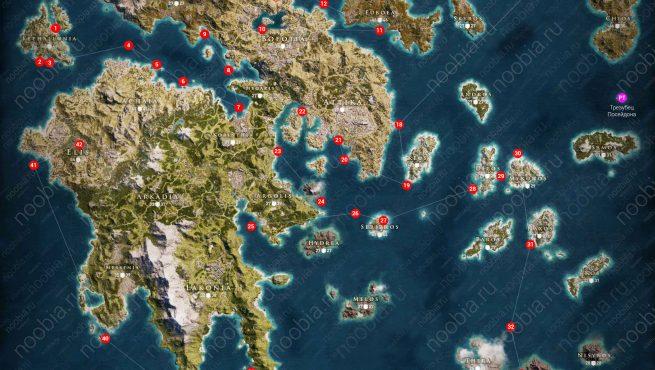 Assassin's Creed Odyssey: карта с расположением всех подводных заданий