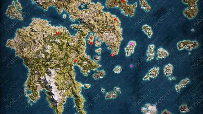 Карта расположения сокровищ Ксении в Assassin's Creed Odyssey