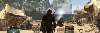 AC4: улучшение бухты на Большом Инагуа - пиратский лагерь с костром