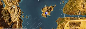 "Assassin's Creed: Origins: карта с тайником из головоломки ""Каменный взор / The Stone Gaze"" на Озере Мареотис"