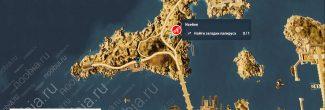 """Assassin's Creed: Origins: карта с местоположением седьмого папируса """"Оглушительная тишина / Deafening Silence"""" в Александрии"""