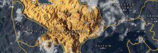 """Assassin's Creed: Origins: карта с расположением """"Вершины мира"""" в Черной пустыне на западе Древнего Египта"""