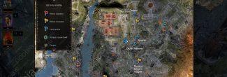 Divinity: Original Sin 2: карта с местоположением Таркина, Андраса, склепа Кванны и могилы Джоанны Суррей в Погосте на Побережье Жнеца
